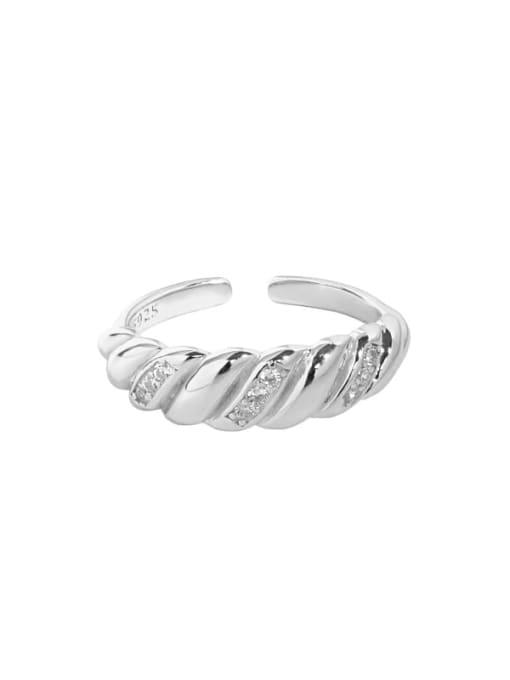Silver [size 15 adjustable] 925 Sterling Silver Rhinestone Irregular Vintage Band Ring